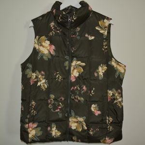 Lands End down floral and green puffy vest L